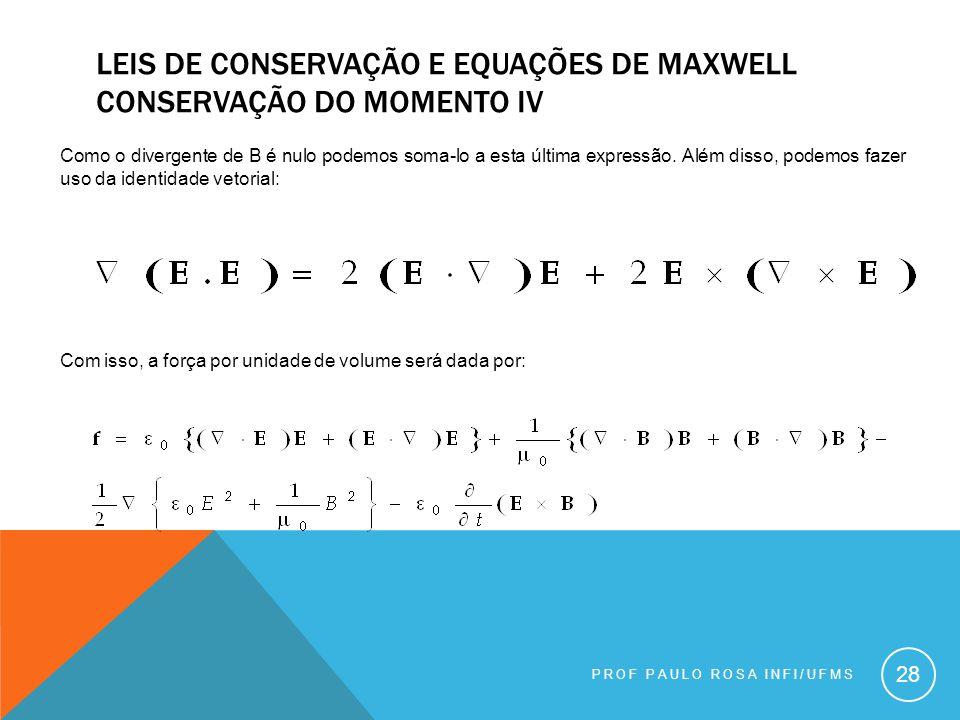 Leis de conservação e equações de maxwell conservação do momento Iv