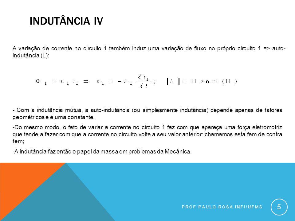 Indutância iv A variação de corrente no circuito 1 também induz uma variação de fluxo no próprio circuito 1 => auto-indutância (L):