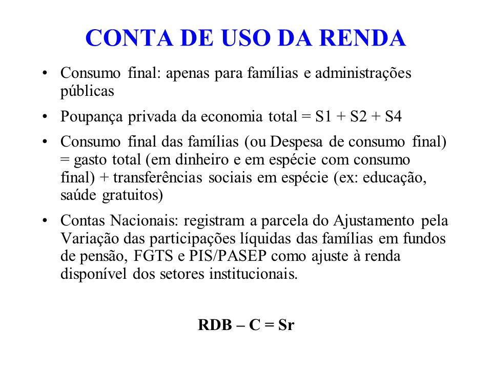 CONTA DE USO DA RENDA Consumo final: apenas para famílias e administrações públicas. Poupança privada da economia total = S1 + S2 + S4.