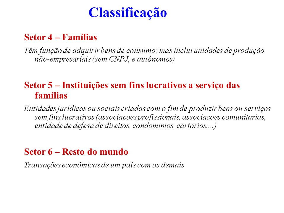Classificação Setor 4 – Famílias