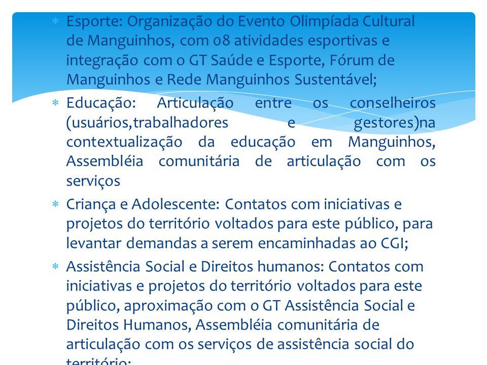 Esporte: Organização do Evento Olimpíada Cultural de Manguinhos, com 08 atividades esportivas e integração com o GT Saúde e Esporte, Fórum de Manguinhos e Rede Manguinhos Sustentável;