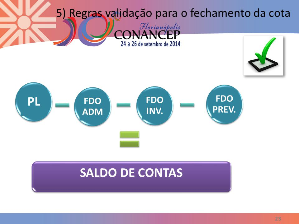 PL SALDO DE CONTAS 5) Regras validação para o fechamento da cota