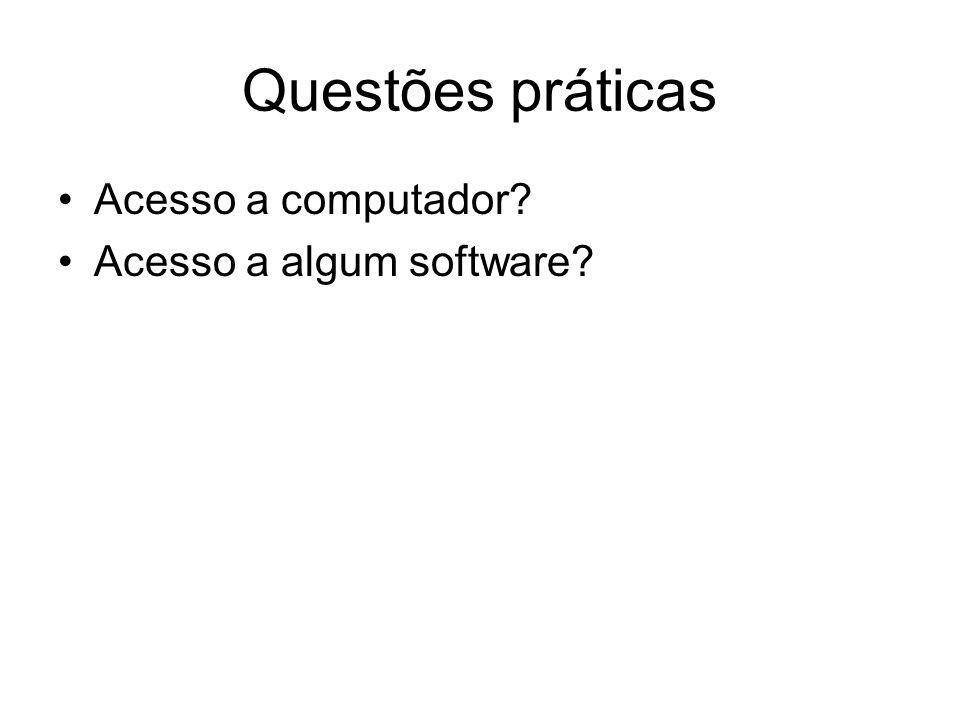 Questões práticas Acesso a computador Acesso a algum software
