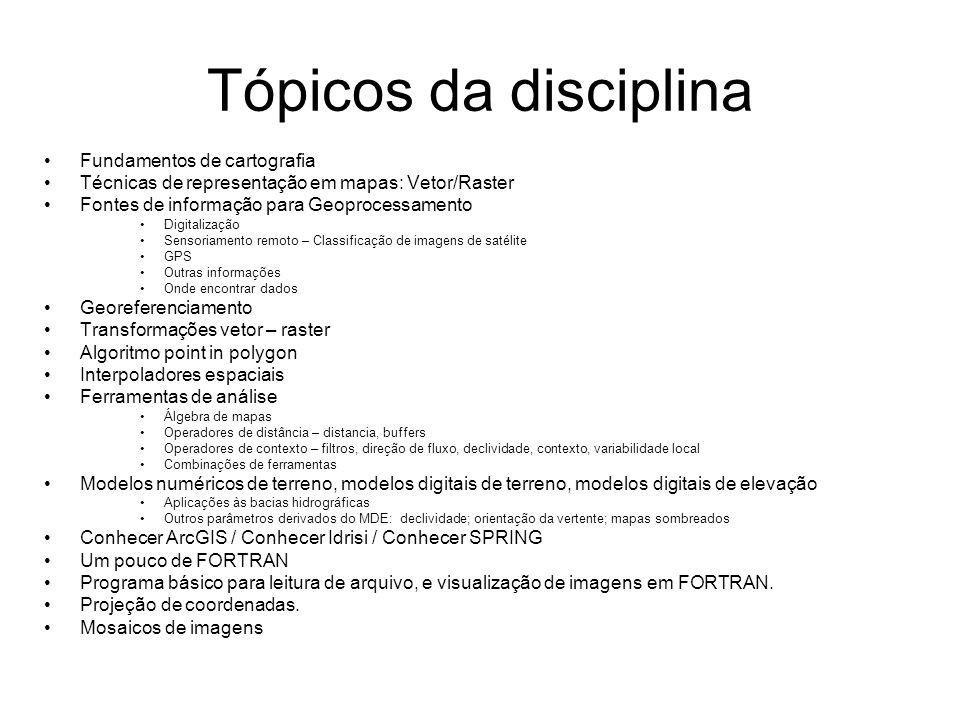 Tópicos da disciplina Fundamentos de cartografia