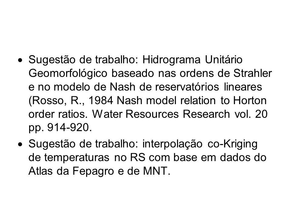 Sugestão de trabalho: Hidrograma Unitário Geomorfológico baseado nas ordens de Strahler e no modelo de Nash de reservatórios lineares (Rosso, R., 1984 Nash model relation to Horton order ratios. Water Resources Research vol. 20 pp. 914-920.