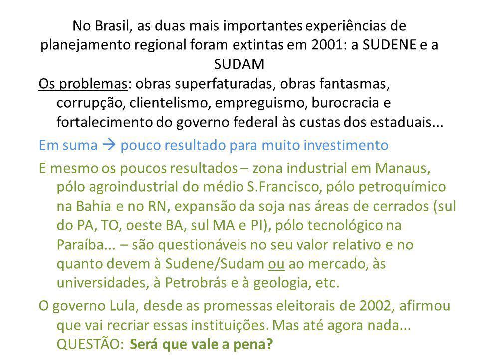 No Brasil, as duas mais importantes experiências de planejamento regional foram extintas em 2001: a SUDENE e a SUDAM