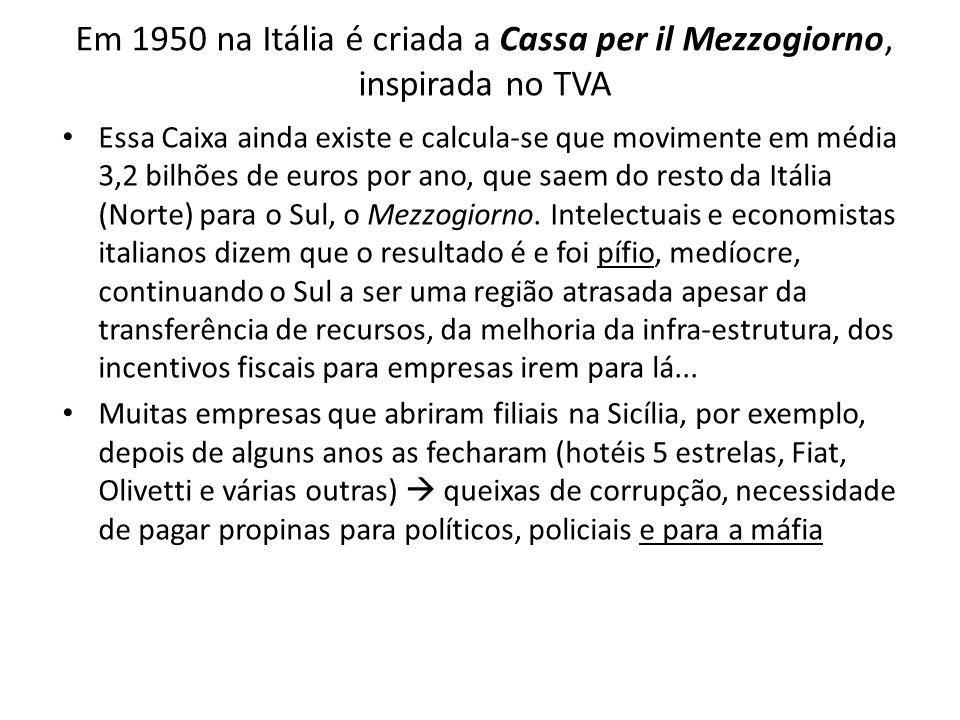 Em 1950 na Itália é criada a Cassa per il Mezzogiorno, inspirada no TVA