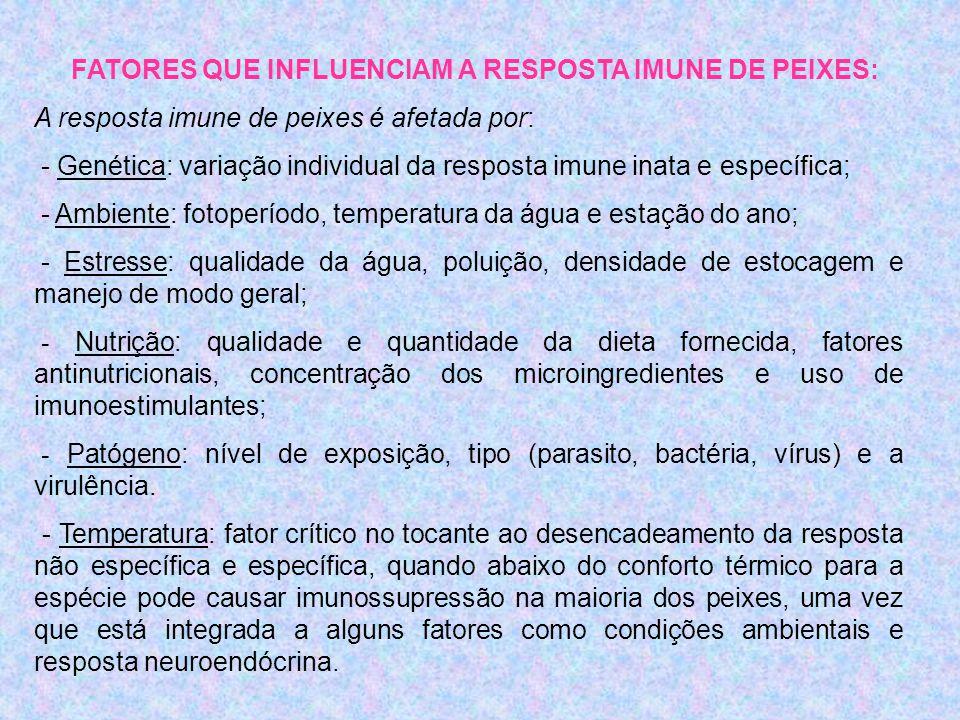 FATORES QUE INFLUENCIAM A RESPOSTA IMUNE DE PEIXES:
