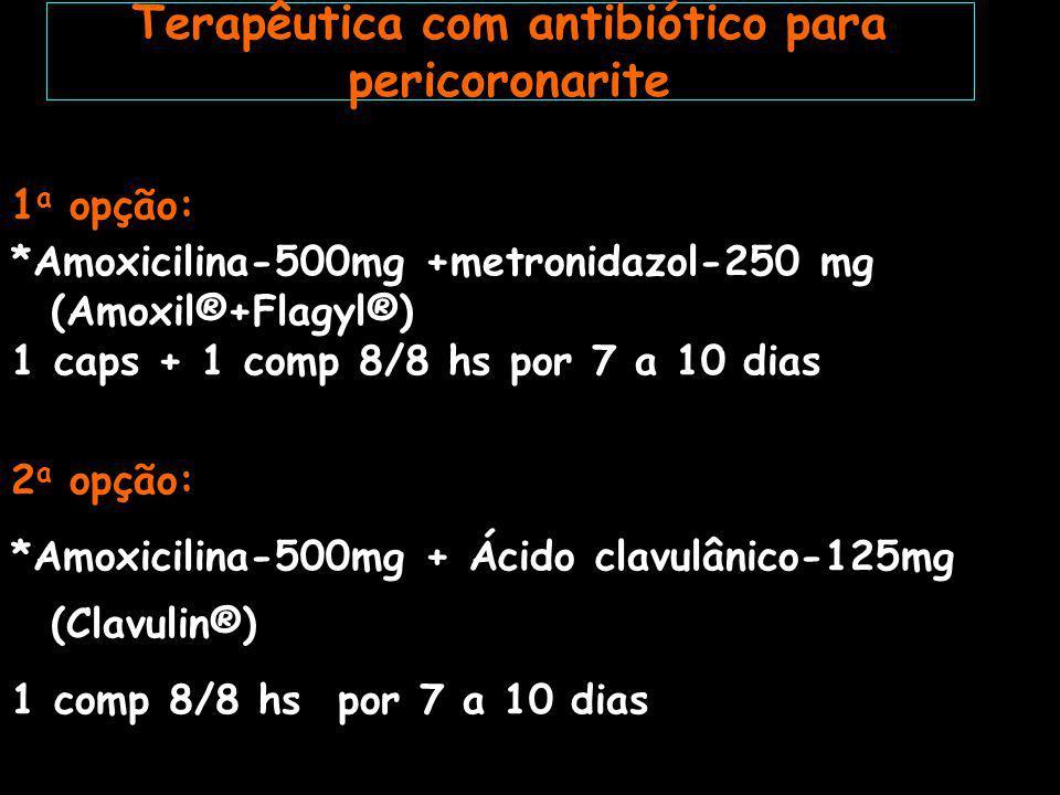 Terapêutica com antibiótico para pericoronarite