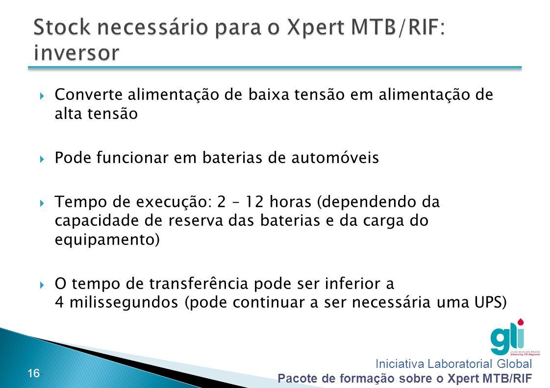 Stock necessário para o Xpert MTB/RIF: inversor