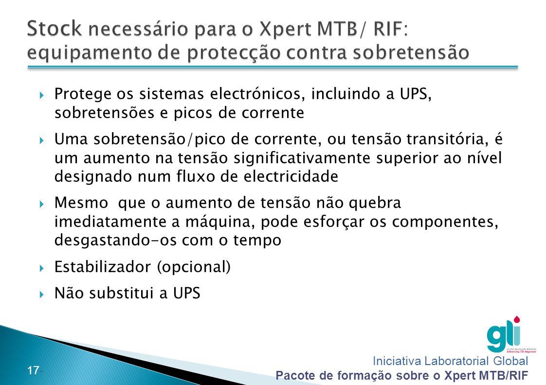Stock necessário para o Xpert MTB/ RIF: equipamento de protecção contra sobretensão