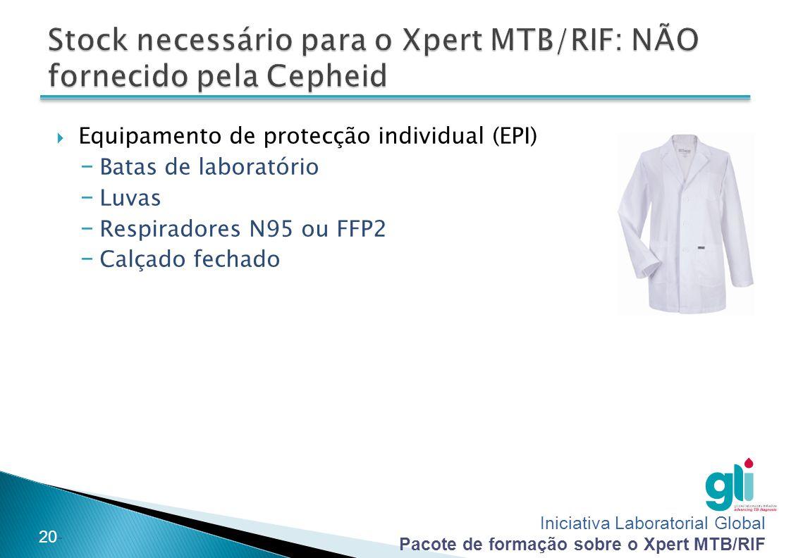 Stock necessário para o Xpert MTB/RIF: NÃO fornecido pela Cepheid