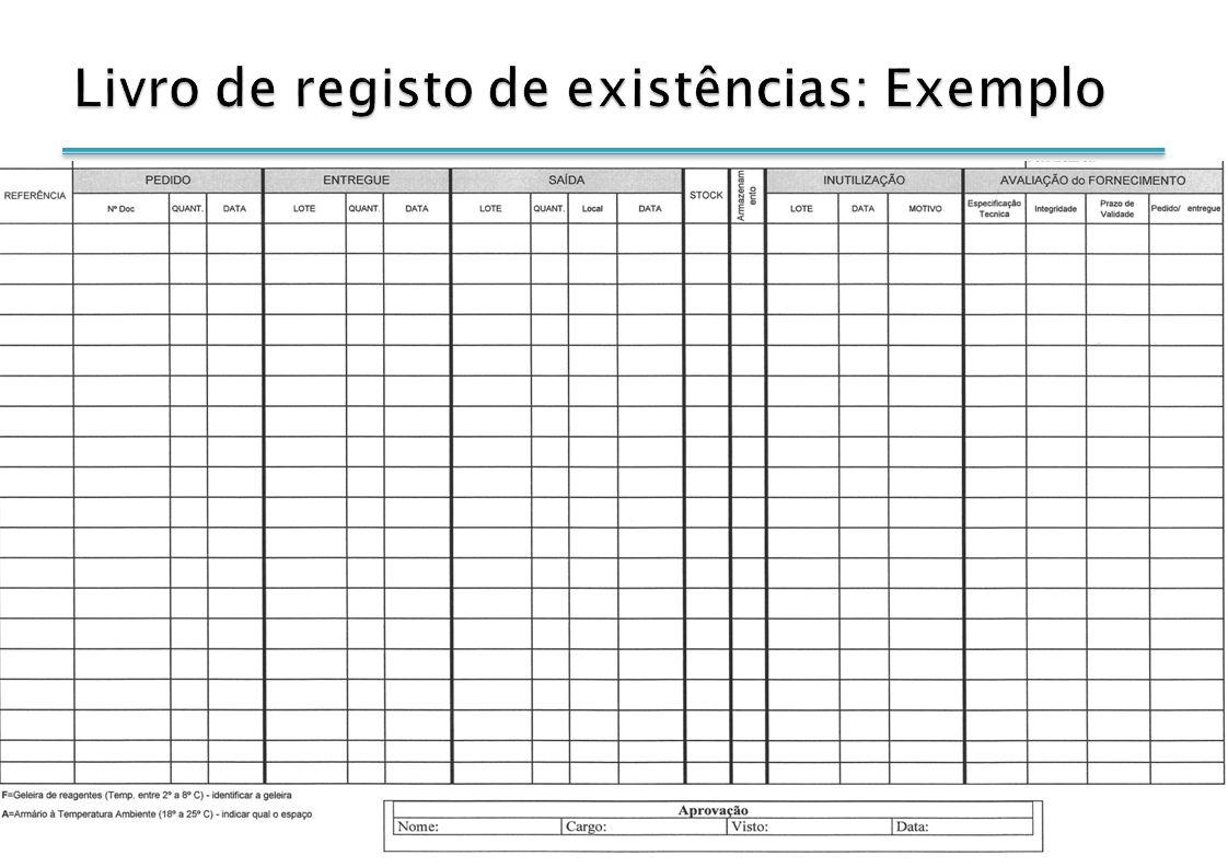 Livro de registo de existências: Exemplo