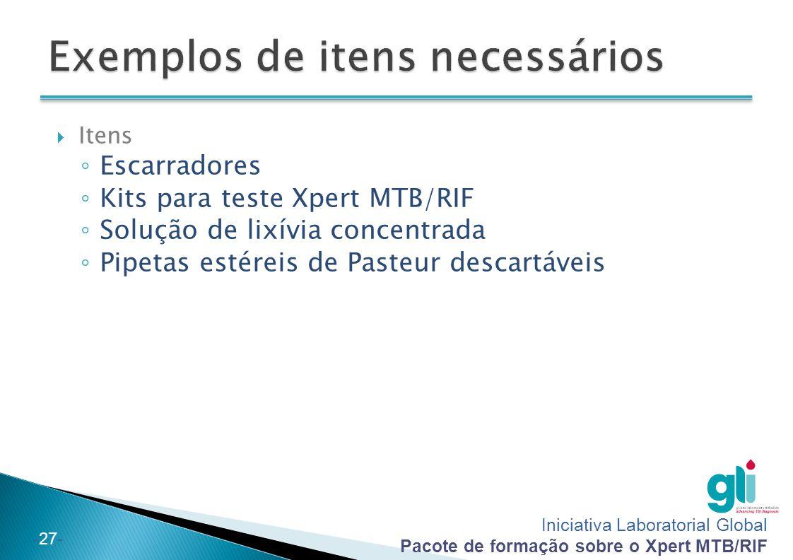 Exemplos de itens necessários