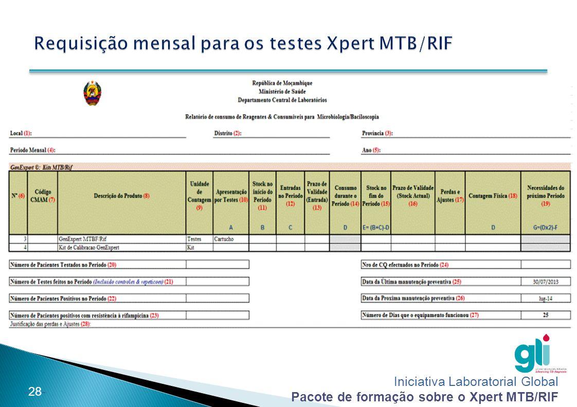 Requisição mensal para os testes Xpert MTB/RIF