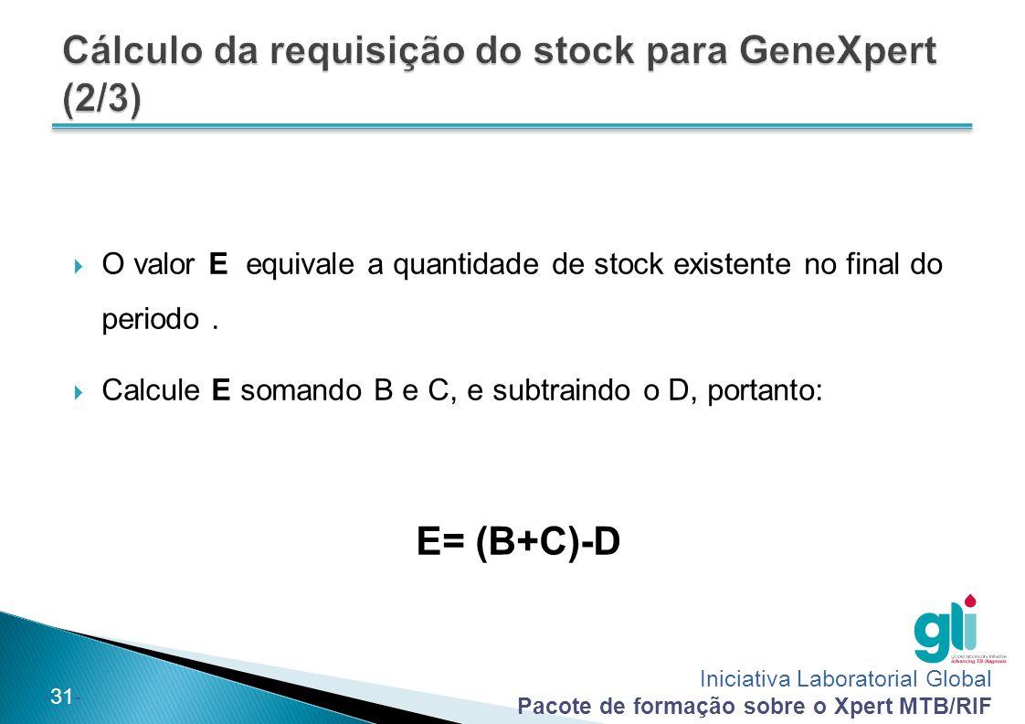 Cálculo da requisição do stock para GeneXpert (2/3)
