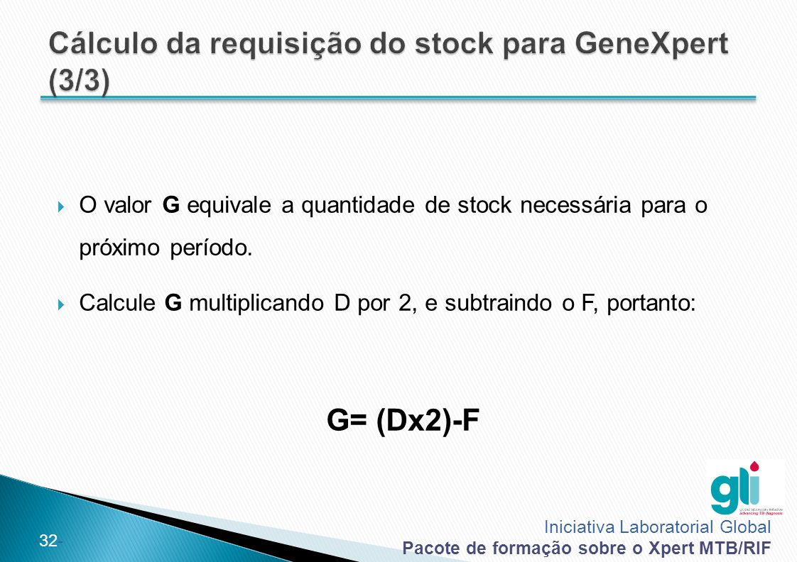 Cálculo da requisição do stock para GeneXpert (3/3)