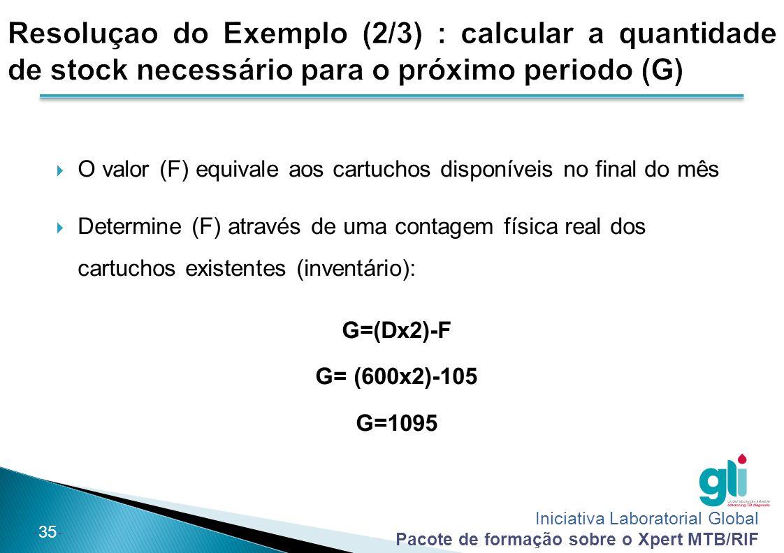 Resoluçao do Exemplo (2/3) : calcular a quantidade de stock necessário para o próximo periodo (G)
