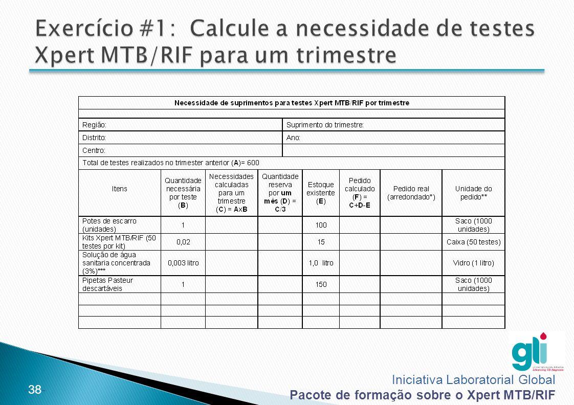 Exercício #1: Calcule a necessidade de testes Xpert MTB/RIF para um trimestre