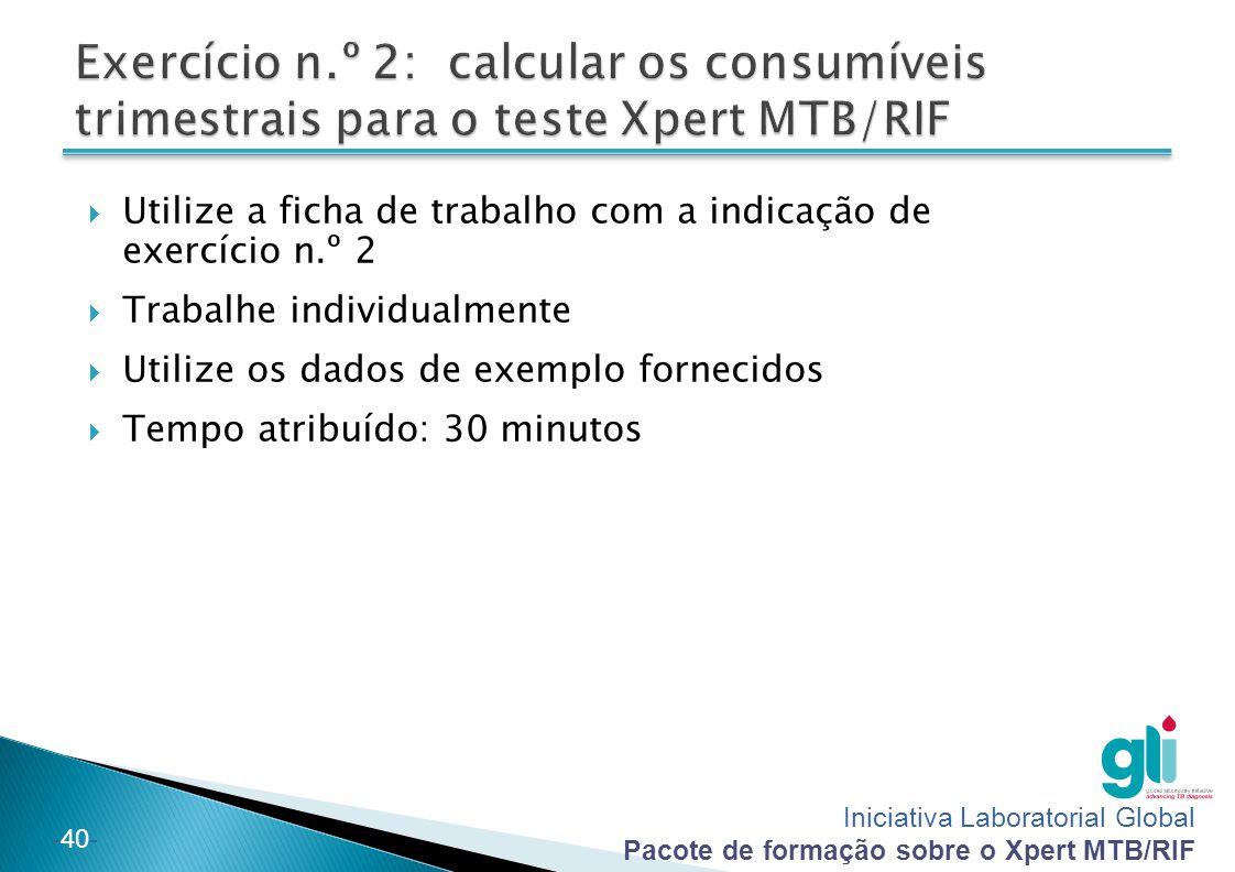 Exercício n.º 2: calcular os consumíveis trimestrais para o teste Xpert MTB/RIF