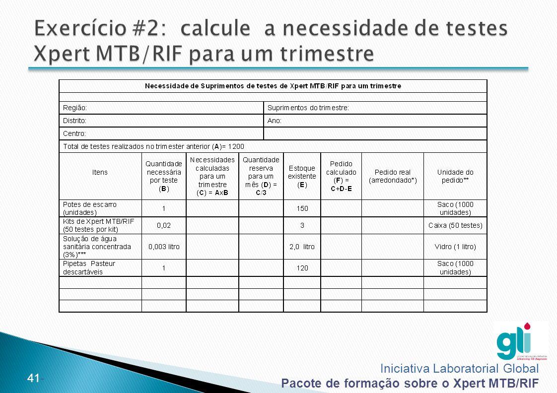 Exercício #2: calcule a necessidade de testes Xpert MTB/RIF para um trimestre