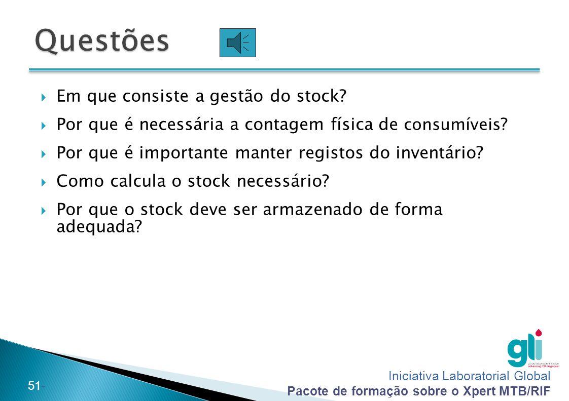 Questões Em que consiste a gestão do stock