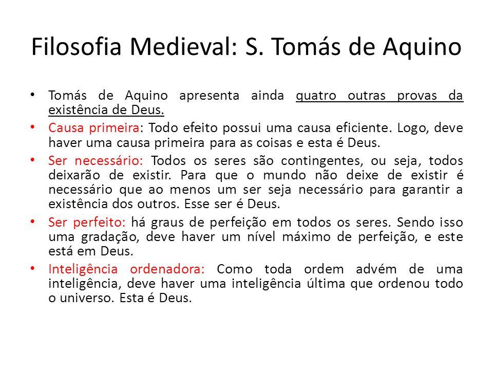 Filosofia Medieval: S. Tomás de Aquino
