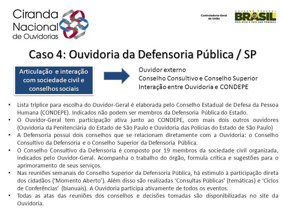 Caso 4: Ouvidoria da Defensoria Pública / SP