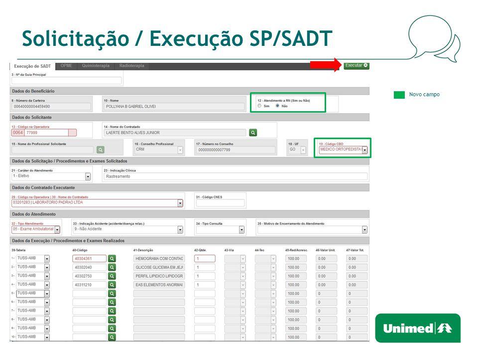 Solicitação / Execução SP/SADT