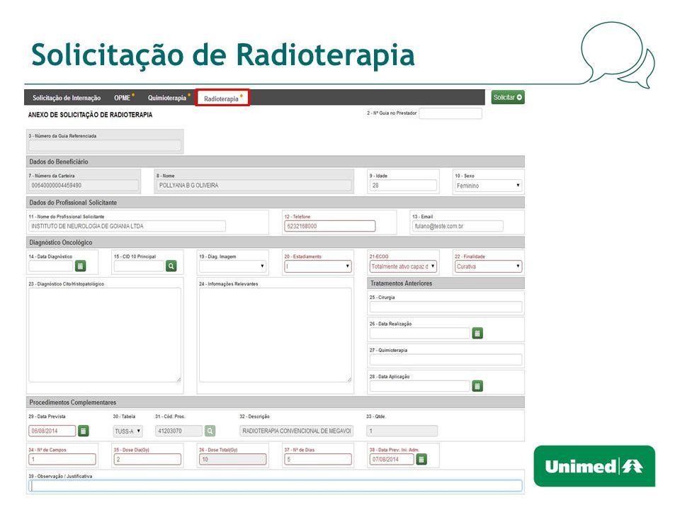 Solicitação de Radioterapia