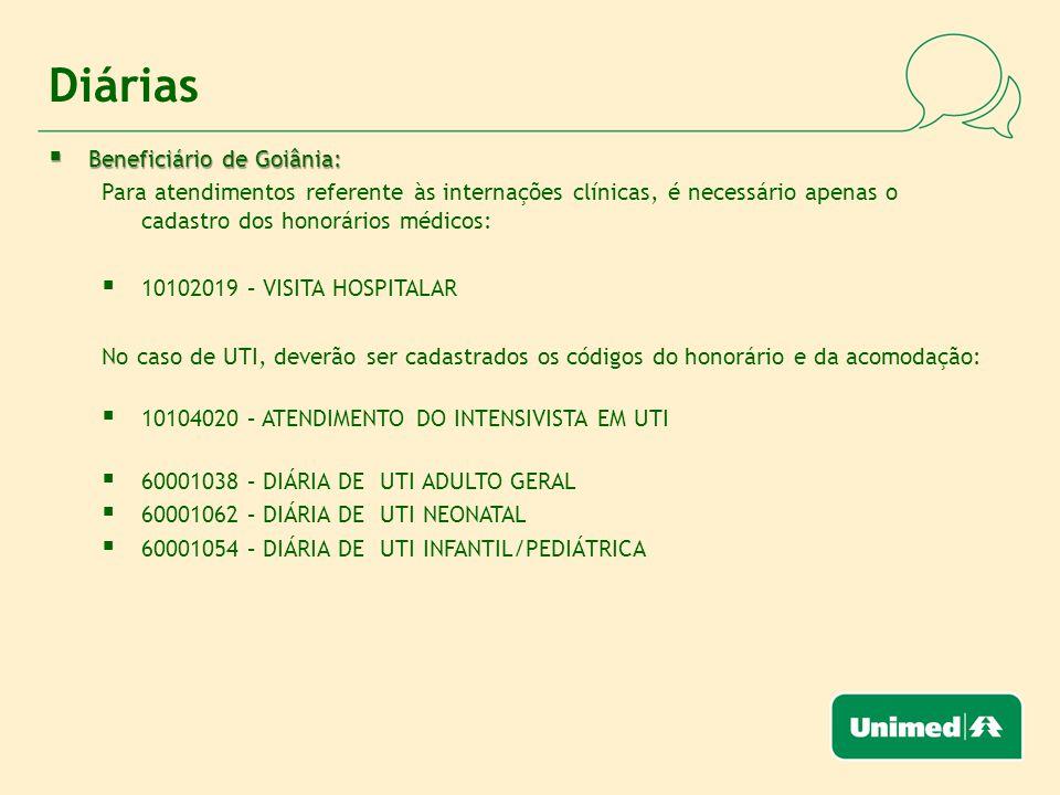 Diárias Beneficiário de Goiânia: