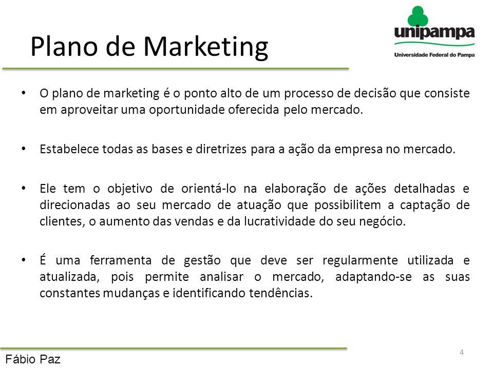 Plano de Marketing O plano de marketing é o ponto alto de um processo de decisão que consiste em aproveitar uma oportunidade oferecida pelo mercado.