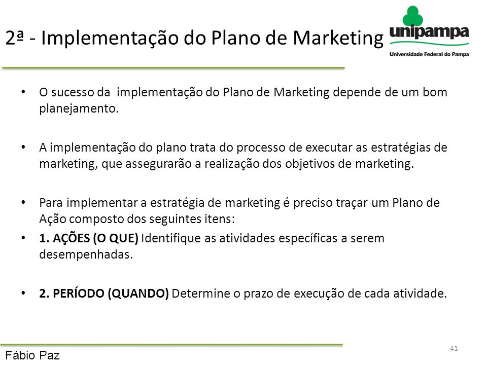 2ª - Implementação do Plano de Marketing