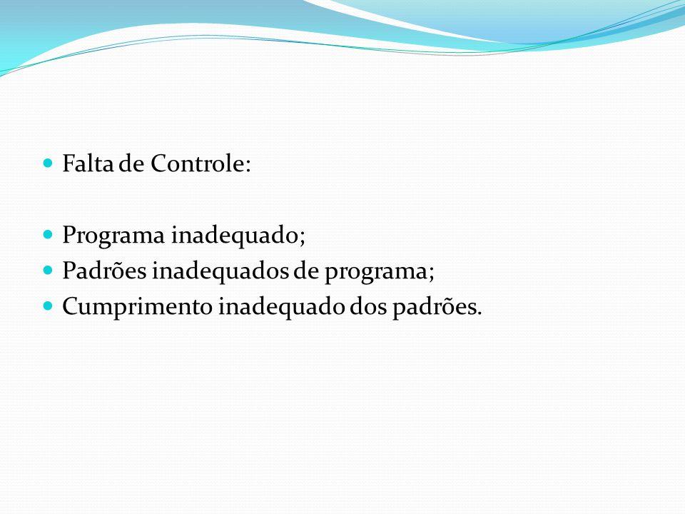 Falta de Controle: Programa inadequado; Padrões inadequados de programa; Cumprimento inadequado dos padrões.