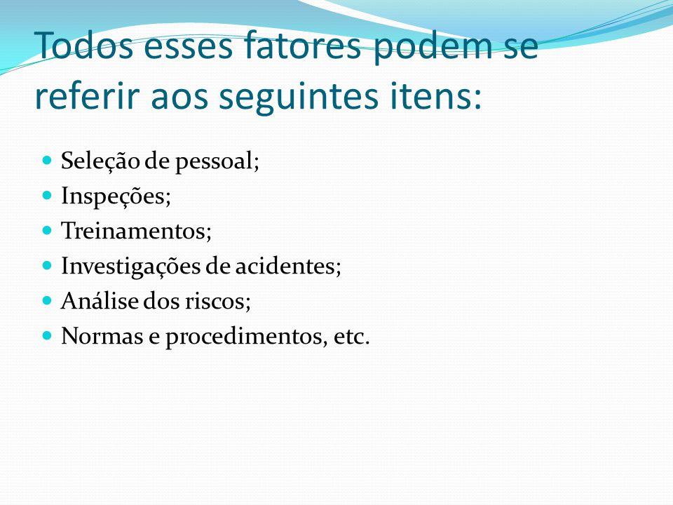 Todos esses fatores podem se referir aos seguintes itens: