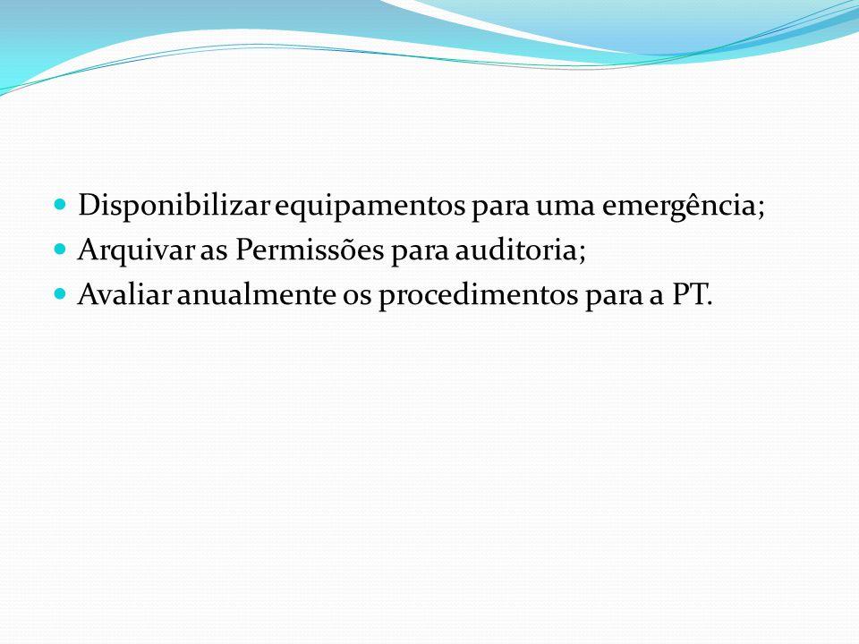Disponibilizar equipamentos para uma emergência;