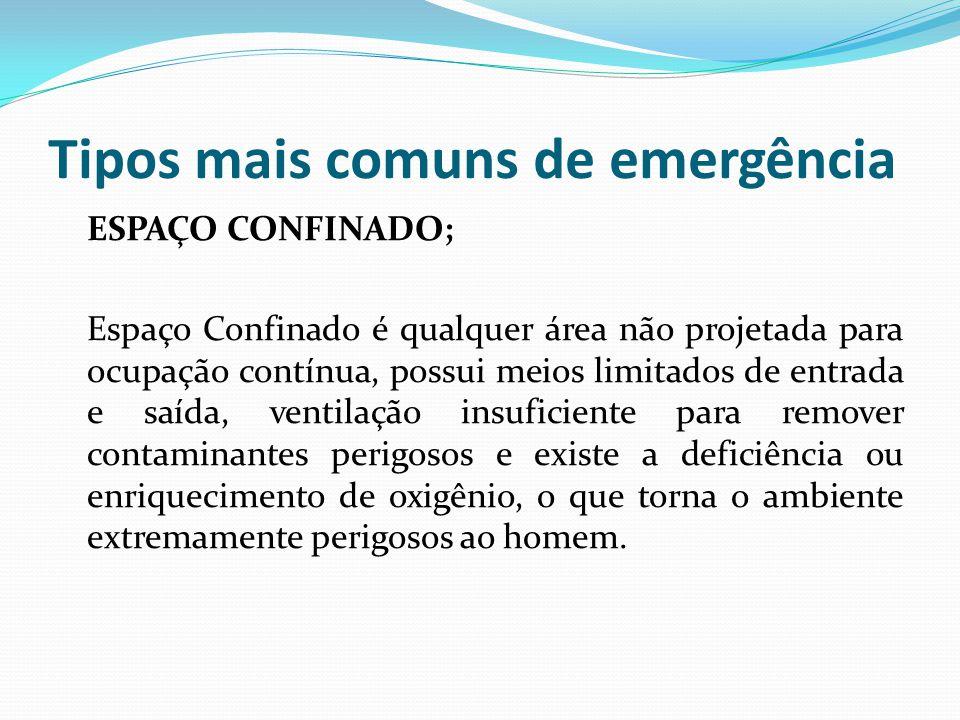 Tipos mais comuns de emergência