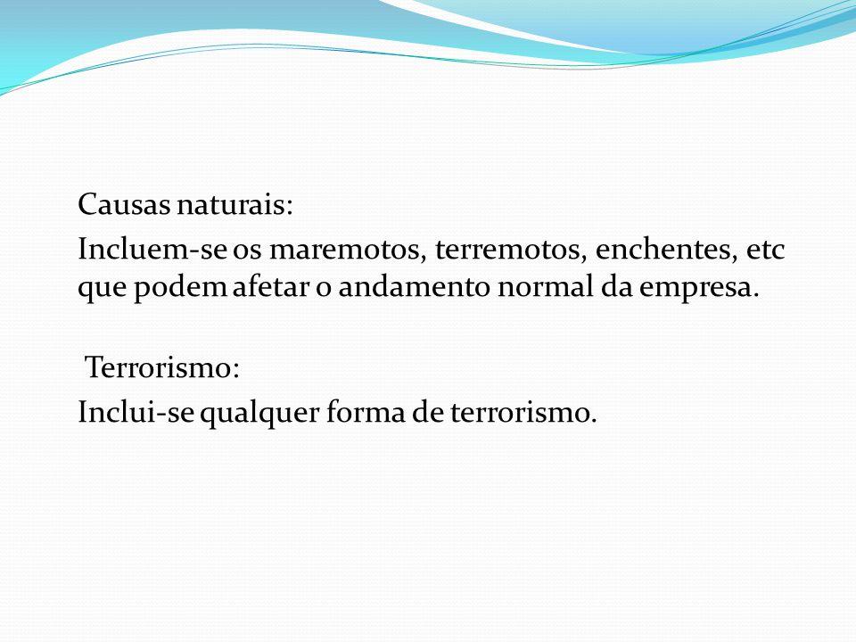 Causas naturais: Incluem-se os maremotos, terremotos, enchentes, etc que podem afetar o andamento normal da empresa.