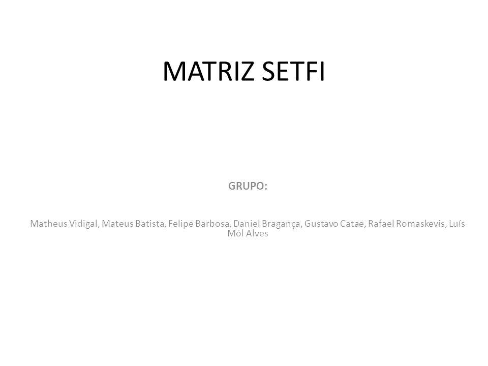 MATRIZ SETFI GRUPO: Matheus Vidigal, Mateus Batista, Felipe Barbosa, Daniel Bragança, Gustavo Catae, Rafael Romaskevis, Luís Mól Alves.