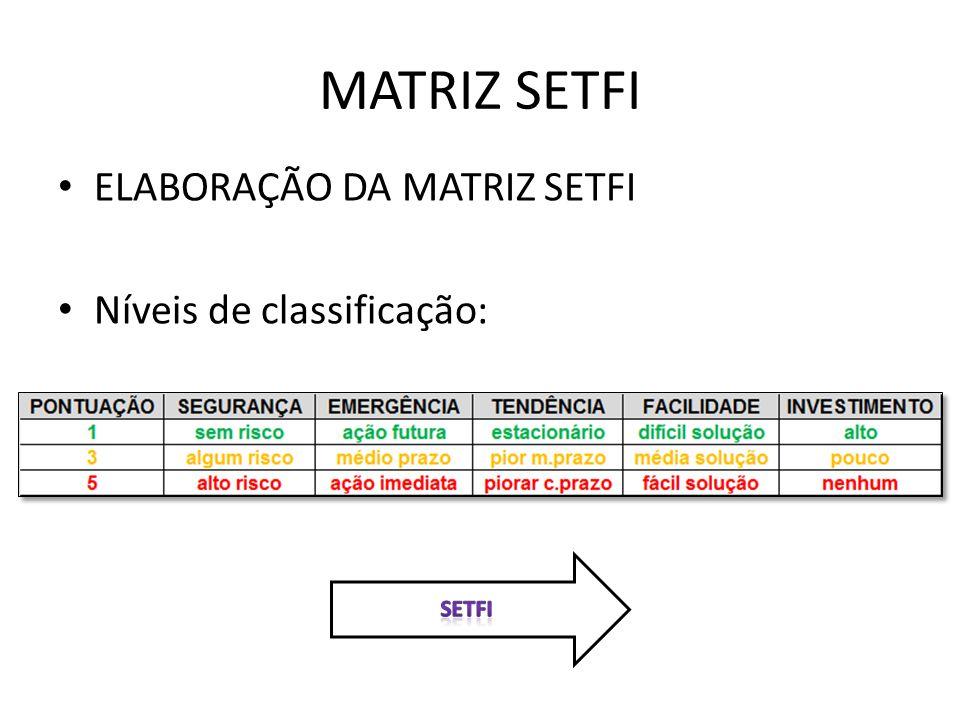 MATRIZ SETFI ELABORAÇÃO DA MATRIZ SETFI Níveis de classificação: SETFI