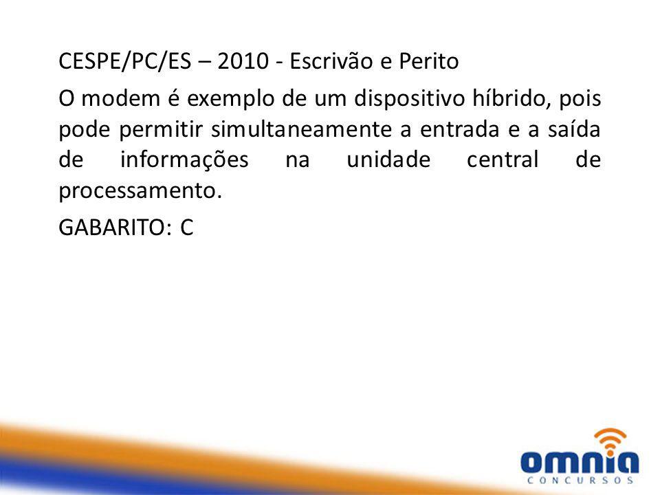 CESPE/PC/ES – 2010 - Escrivão e Perito