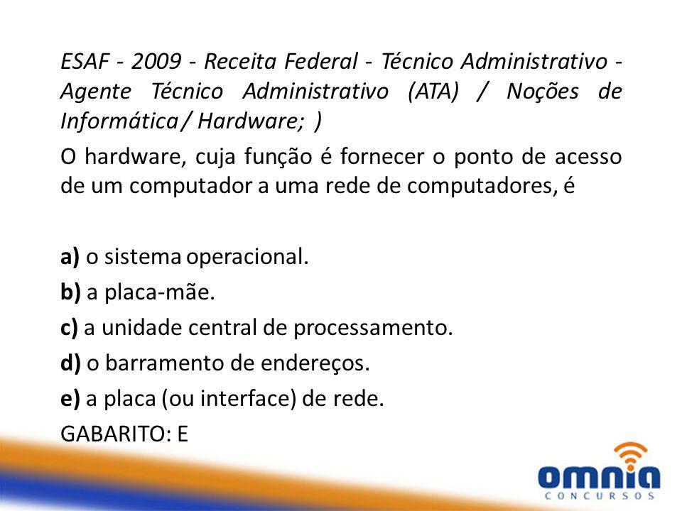 ESAF - 2009 - Receita Federal - Técnico Administrativo - Agente Técnico Administrativo (ATA) / Noções de Informática / Hardware; )