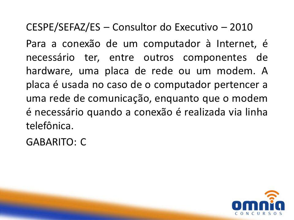 CESPE/SEFAZ/ES – Consultor do Executivo – 2010