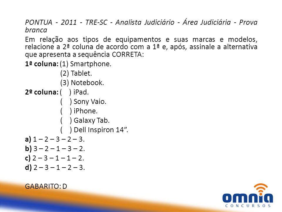 PONTUA - 2011 - TRE-SC - Analista Judiciário - Área Judiciária - Prova branca
