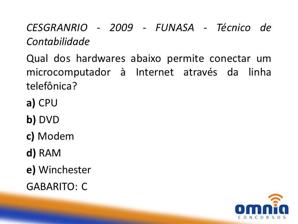 CESGRANRIO - 2009 - FUNASA - Técnico de Contabilidade