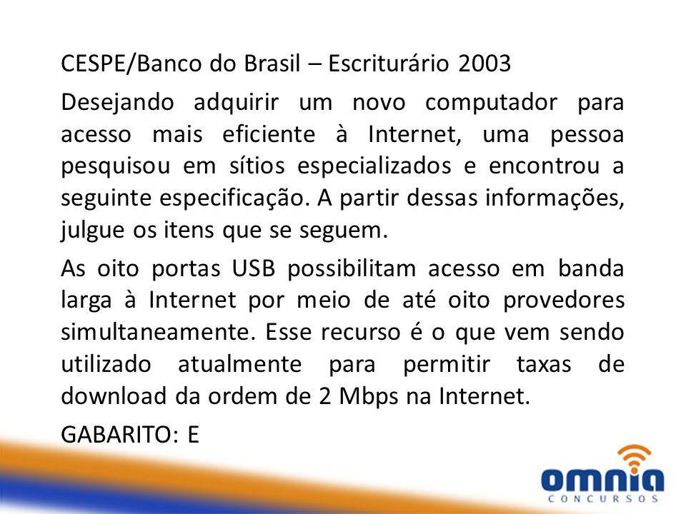CESPE/Banco do Brasil – Escriturário 2003