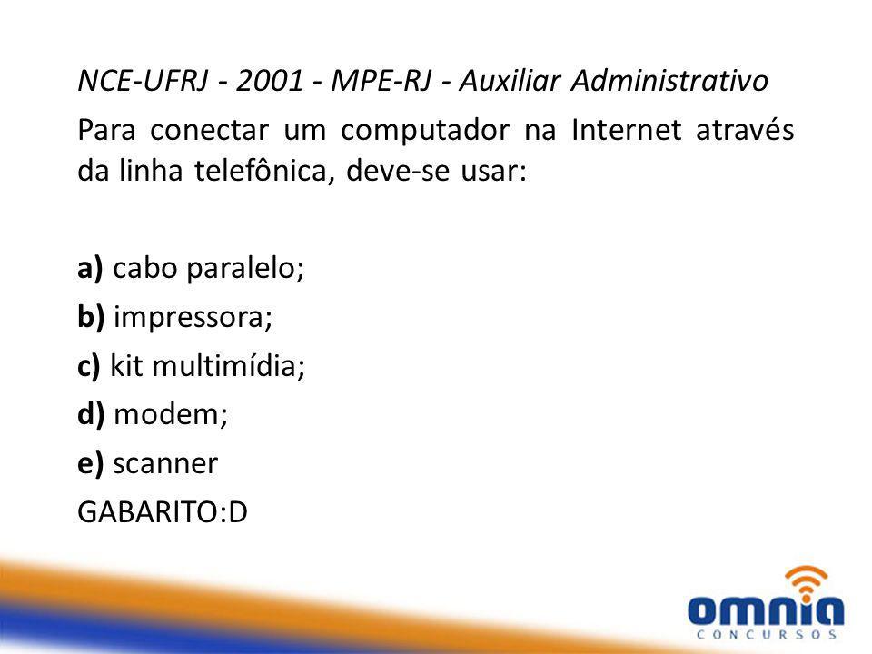 NCE-UFRJ - 2001 - MPE-RJ - Auxiliar Administrativo
