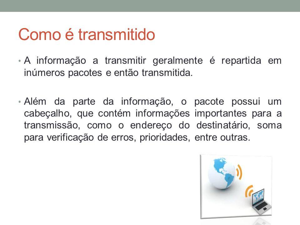 Como é transmitido A informação a transmitir geralmente é repartida em inúmeros pacotes e então transmitida.