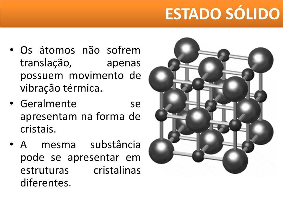 ESTADO SÓLIDO Os átomos não sofrem translação, apenas possuem movimento de vibração térmica. Geralmente se apresentam na forma de cristais.