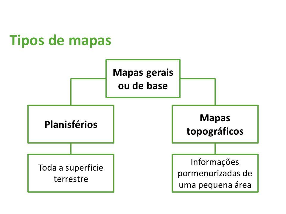 Tipos de mapas Mapas gerais ou de base Mapas topográficos Planisférios
